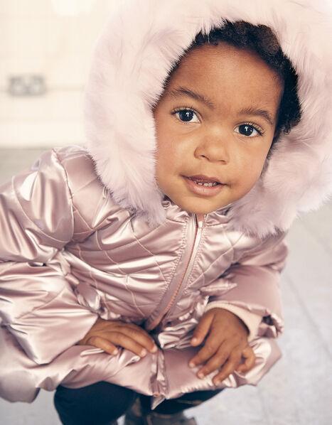 Baby Metallic Frill Puffball Coat Pink, Pink (PINK), large