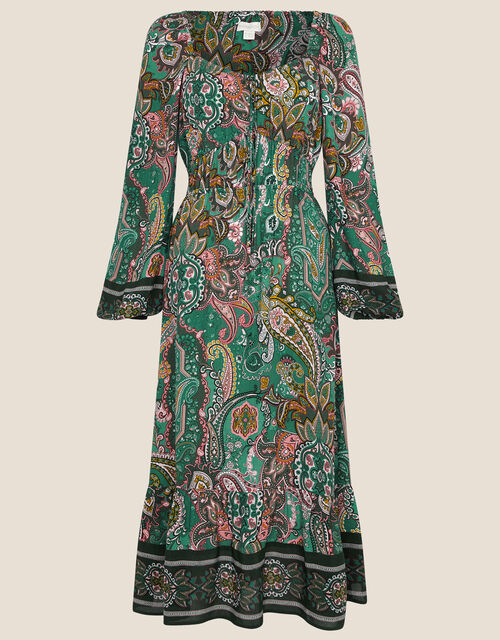 Elaina Paisley Square Neck Tie Dress, Green (GREEN), large