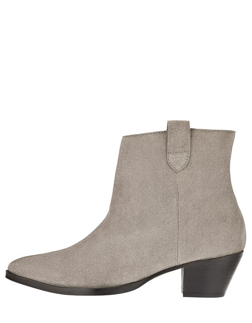 Western Suede Ankle Boots, Grey (GREY), large