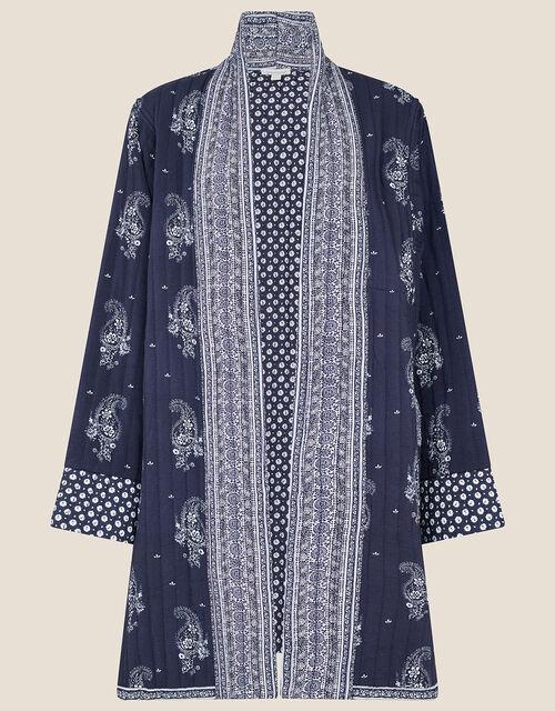 Heston Printed Longline Jacket, Blue (NAVY), large