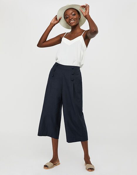 Eureka Culottes in Pure Linen Blue, Blue (NAVY), large