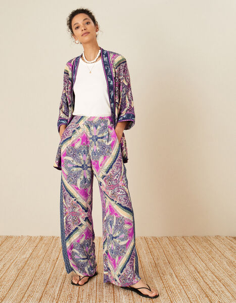 Paisley Tile Print Wide Leg Trousers Pink, Pink (PINK), large