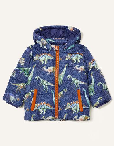 Dino Print Padded Coat Blue, Blue (NAVY), large