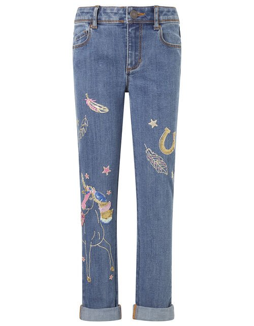 Unicorn Embroidered Jeans, Blue (BLUE), large