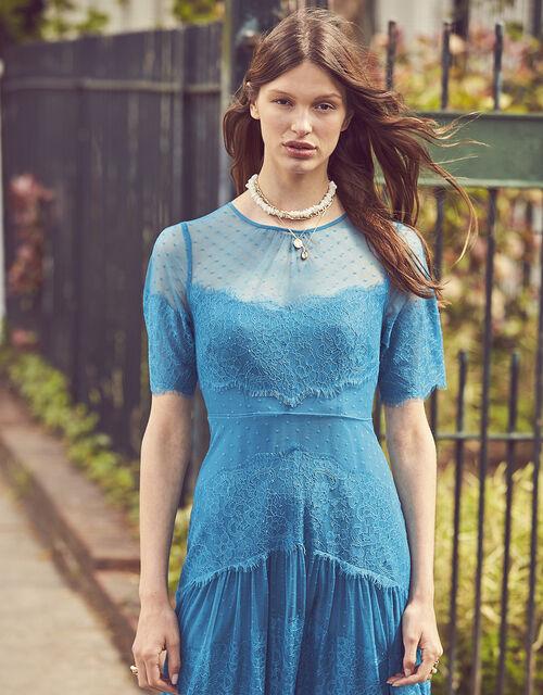 Millie Spot Lace Mesh Dress, Teal (TEAL), large
