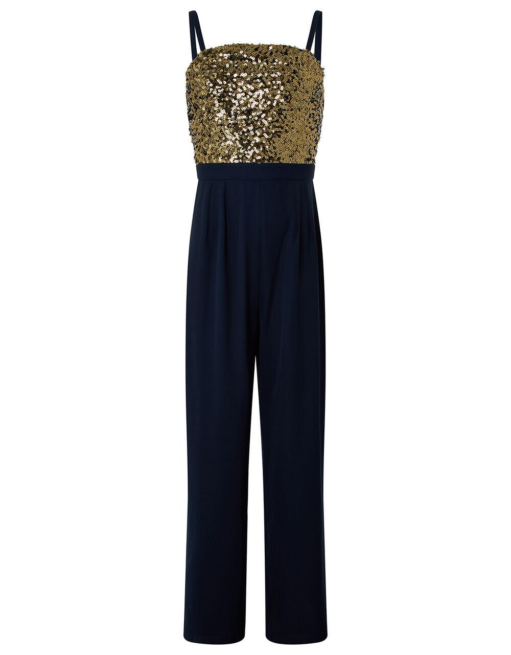 Betsy Sequin Wide-Leg Jumpsuit, Blue (NAVY), large