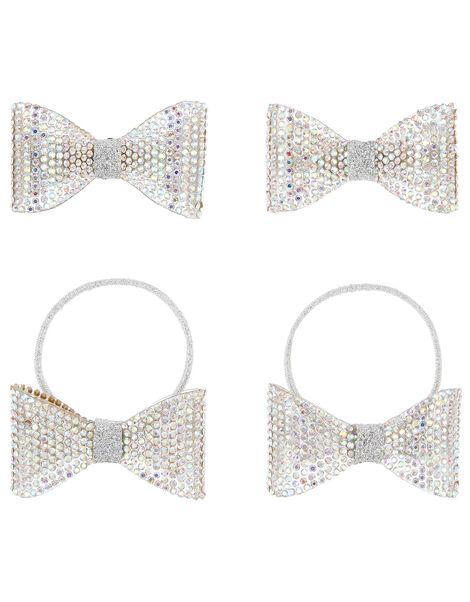 Diamante Dazzle Bow Hair Set , , large