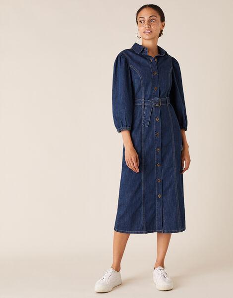 Belted Denim Midi Dress in Organic Cotton Blue, Blue (DENIM BLUE), large
