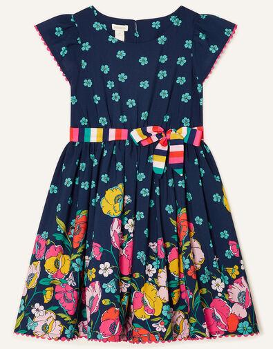 Geo Border Floral Dress  Blue, Blue (NAVY), large