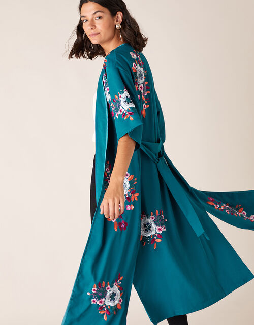 Lucia Floral Sequin Kimono, Teal (TEAL), large