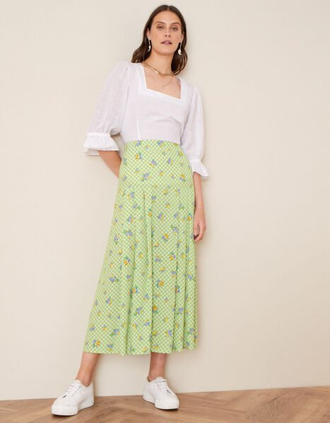 Gabriella Floral and Gingham Skirt Green, Green (GREEN), large
