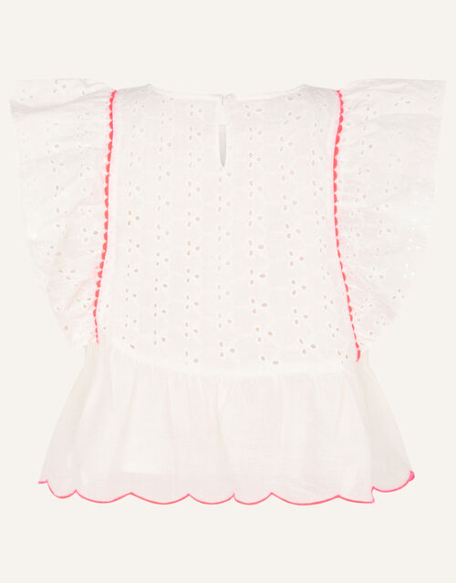 Frill Broderie Top, Ivory (IVORY), large