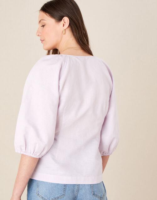 Tie Front Blouse in Linen Blend, Purple (LILAC), large