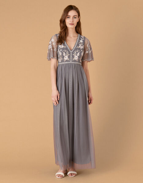 Caterina Embroidered Maxi Dress Blue, Blue (BLUE), large