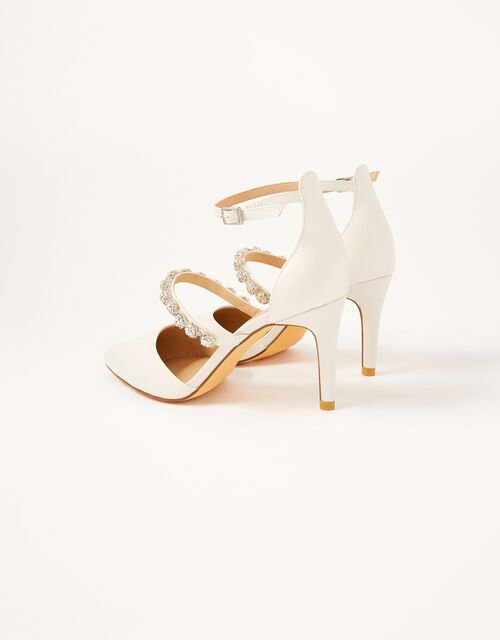 Pearly Strap Satin Bridal Sandals, Ivory (IVORY), large