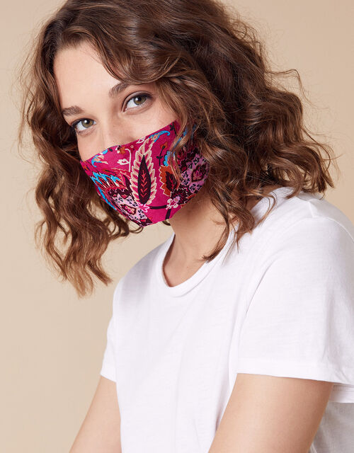 Paisley Print Face Mask in Pure Cotton, , large
