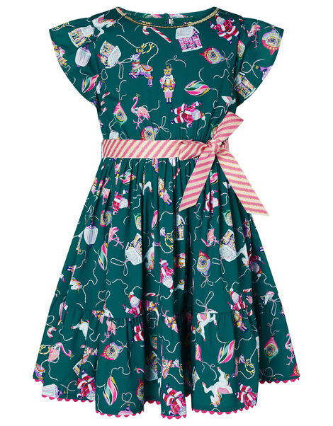 XMAS Bauble Print Dress Green, Green (GREEN), large