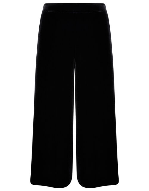 Velvet Cropped Trousers, Black (BLACK), large