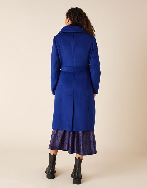 Keryn Wrap Collar Belted Coat, Blue (COBALT), large