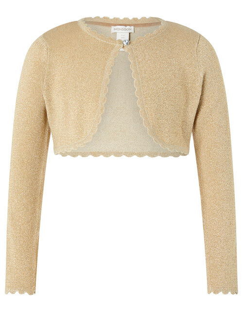 Niamh Sparkle Knit Cardigan with Crystal Button, Gold (GOLD), large