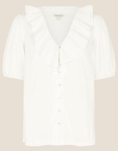 Leandra Ruffle Collar Jersey Blouse, Ivory (IVORY), large