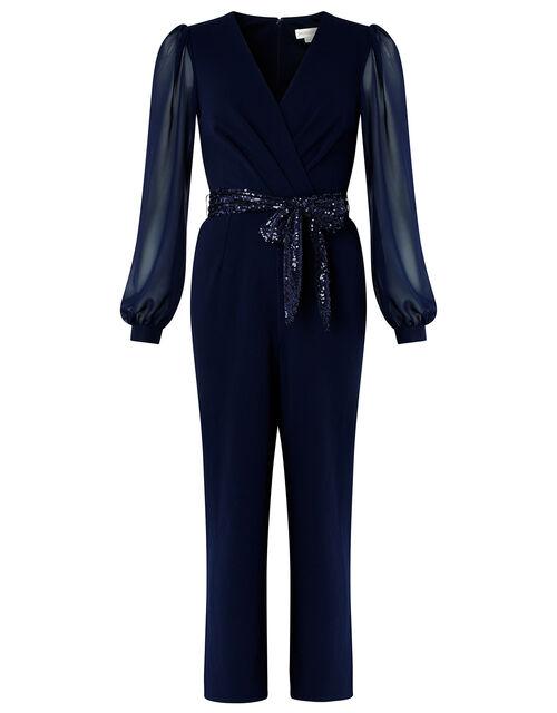 Verity Sequin Belt Jumpsuit, Blue (NAVY), large