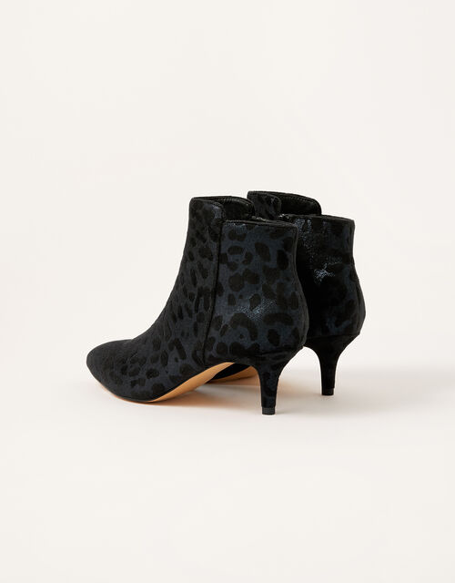 Leopard Print Heeled Ankle Boots, Black (BLACK), large