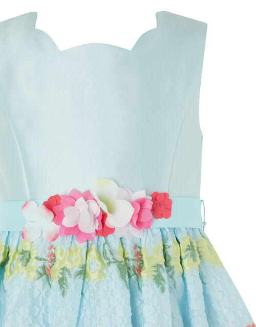 Ariella Floral Jacquard Dress, Blue (BLUE), large