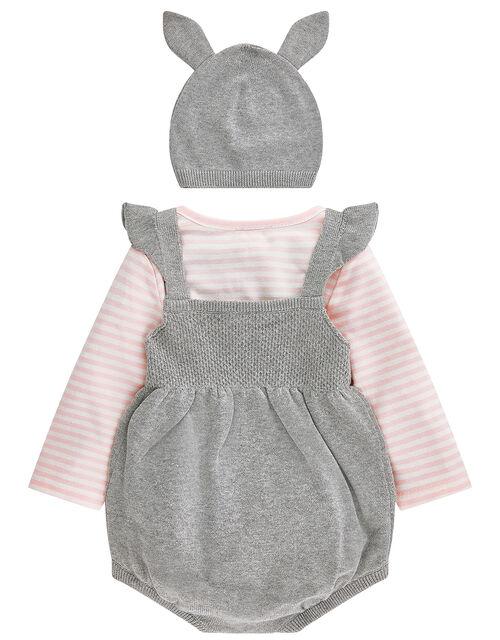 Newborn Callie Knitted Romper Set, Grey (GREY), large