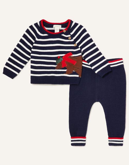 Newborn Bear and Stripe Knit Set, Blue (NAVY), large