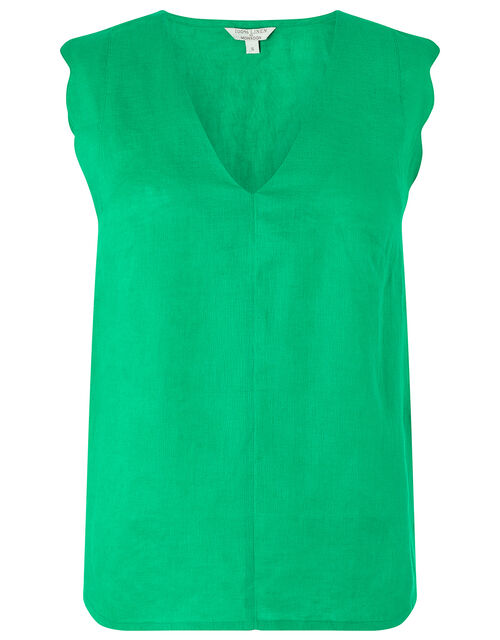 Lotus Scallop Sleeveless Top in Pure Linen, Green (GREEN), large