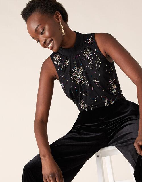 Sarina Starburst Embellished Sleeveless Top, Black (BLACK), large