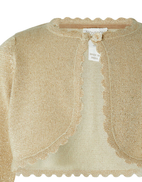 Baby Niamh Cropped Sparkle Knitted Cardigan, Gold (GOLD), large