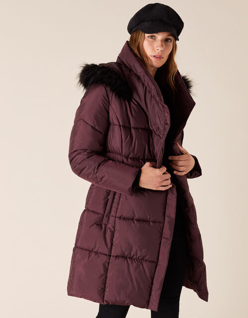 Pasty Long Padded Coat in Recycled Fabric, Brown (CHOCOLATE), large