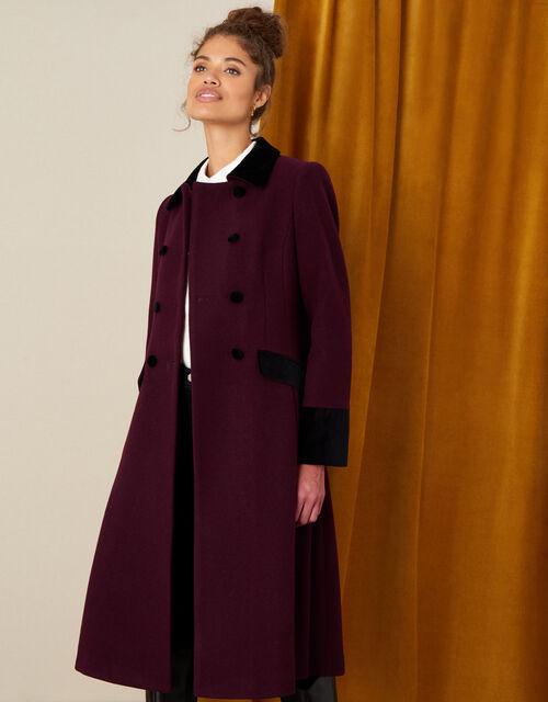 Velvet Trim Skirted Coat, Red (BERRY), large