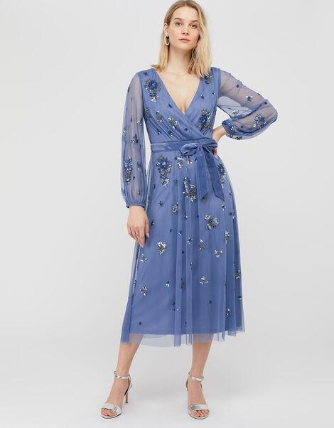 Rosanna Embellished Balloon Sleeve Midi Dress Blue, Blue (BLUE), large