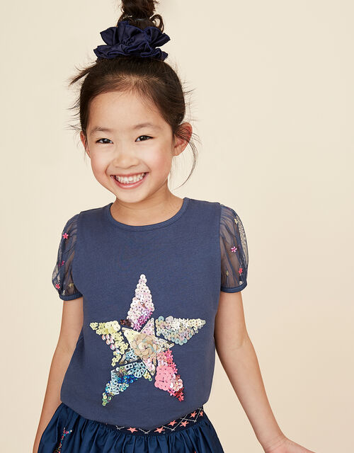 Sequin Star Puff Sleeve Top in Organic Cotton, Blue (NAVY), large