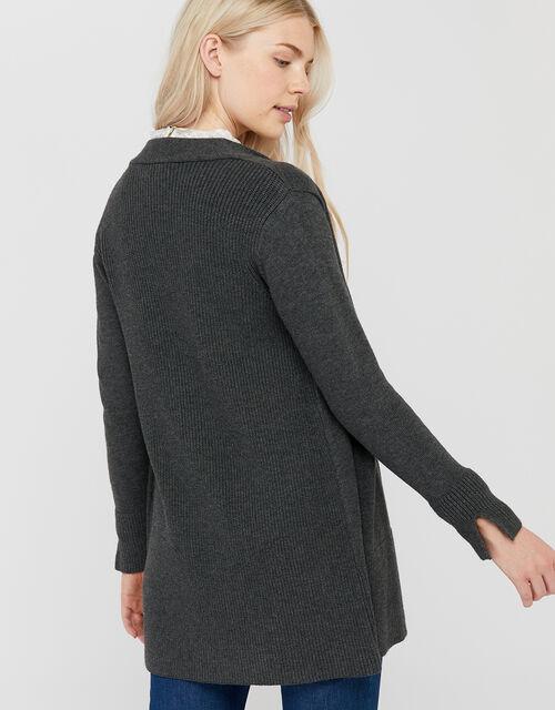 Leela Longline Cardigan, Charcoal, large