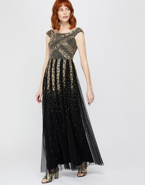 Sansa Embellished Bardot Maxi Dress, Black, large