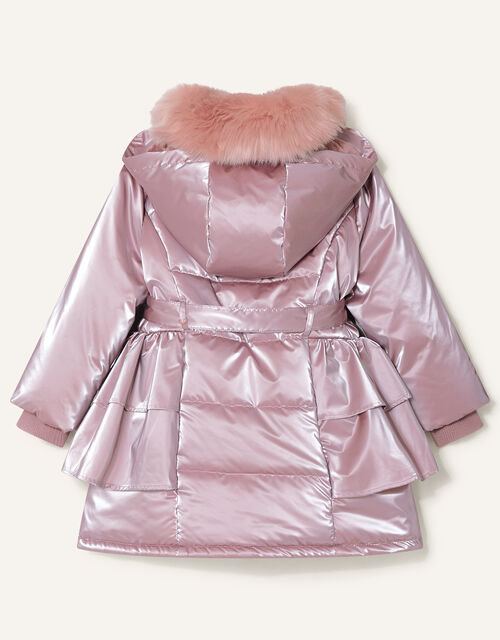 Frill Skirted Coat with Hood, Pink (PINK), large