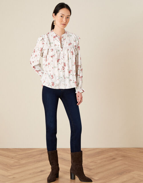 Ditsy Floral Frill Sleeve Top, Grey (GREY), large