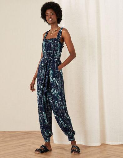 Printed Jersey Hareem Jumpsuit Blue, Blue (NAVY), large