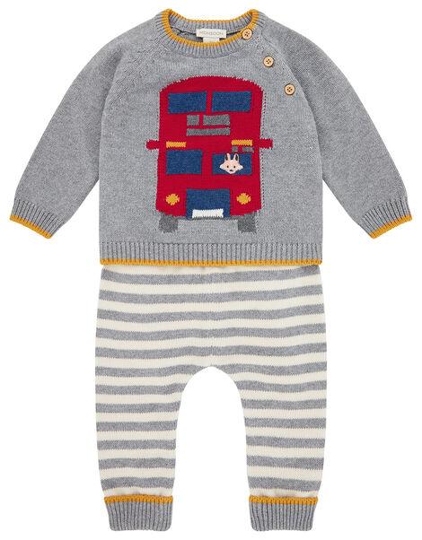 Newborn Baby London Bus Knit Set Grey, Grey (GREY), large