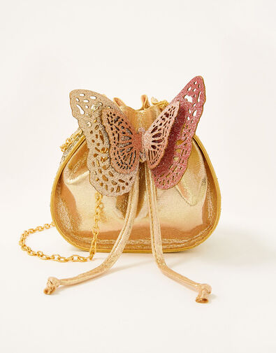 Glitter Butterfly Drawstring Pouch Bag, , large