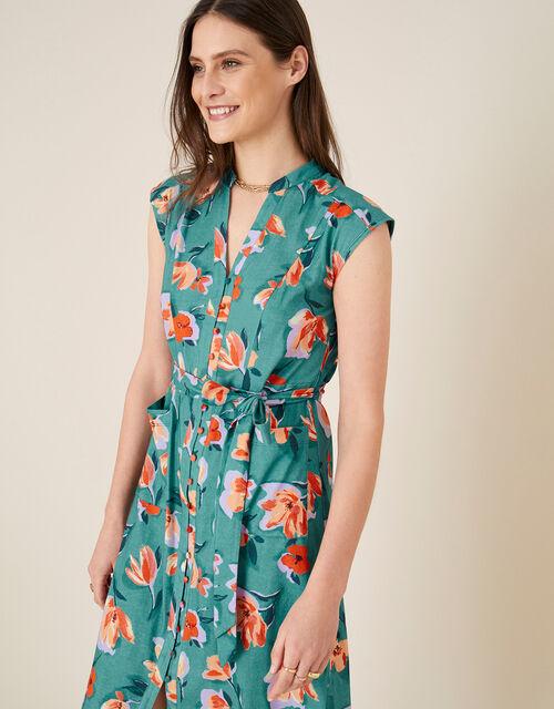 Floral Print Jersey Shirt Dress, Blue (BLUE), large