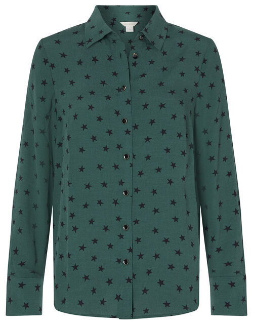 Star Print Shirt with LENZING™ ECOVERO™, Green (GREEN), large