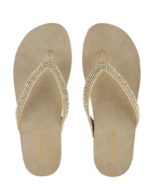 Katrina Beaded Flip Flops with Moulded Footbed, Gold (GOLD), large