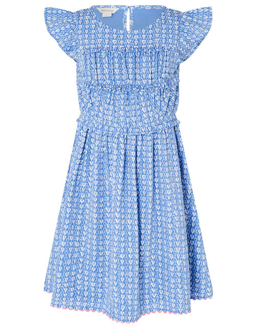 Heart Print Dress, Blue (BLUE), large