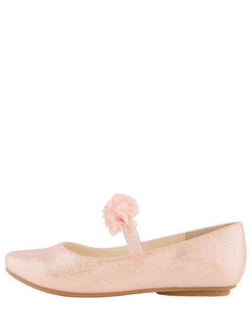 Cynthia Corsage Shimmer Flat Shoes, Pink (PINK), large
