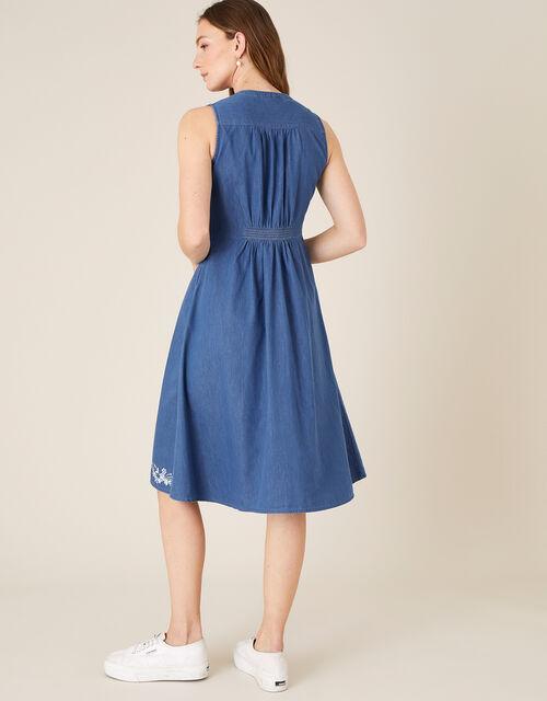 Floral Embroidered Dress, Blue (DENIM BLUE), large